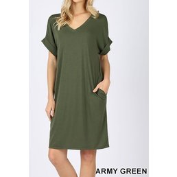 Rolled Short Sleeve V Neck Dress