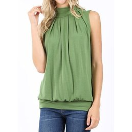 Sleeveless High Neck Pleated Top W/ Waistband