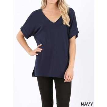 Short Rolled Sleeve Top W/ Side Slit & High Low Hem