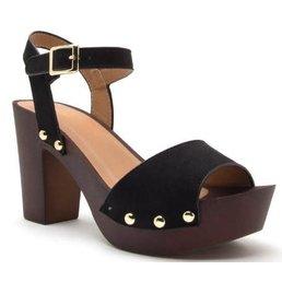 Platform Chunky Heel Sandals W/ Stud Detailing
