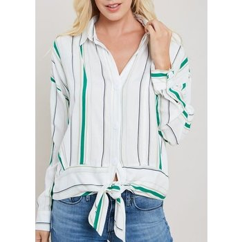 Knotted Hem Button Down