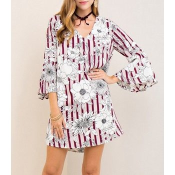 3/4 Bell Sleeve Floral Striped Shift Dress