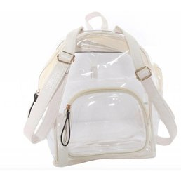 Clear Zipper Pouch Backpack W/ Faux Leather Detailing