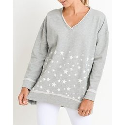 Antiqued Star Cluster Longline V-Neck Sweatshirt