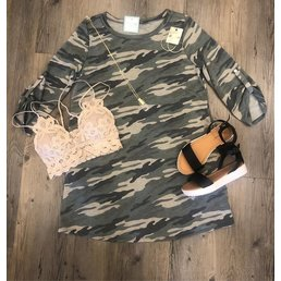 3/4 Button Tab Sleeve Camo Dress