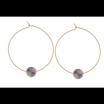 "Hoop w/Natural Stone Bead - 1.5"""