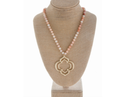 """Metal w/Natural Stone, Clover Pendant - 32"""""""