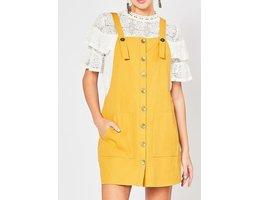 Button Up Pinafore Dress