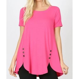 Short Sleeve Button Dolphin Hem Top