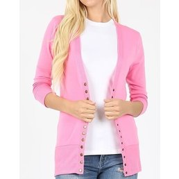 3/4 Sleeve Snap Button Cardigan