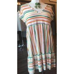 911b679a429b Short Sleeve V Neck Multi Color Stripe Babydoll Dress