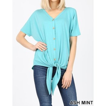 Short Sleeve Button Down Tie Front Top