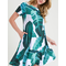 Short Sleeve Crew Neck Fit & Flare Palm Leaf Print Dress