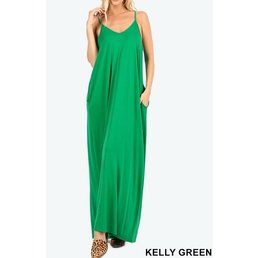 V Neck Cami Maxi Dress W/ Side Pockets