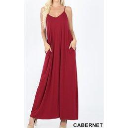 V Neck Cami Maxi Dress W/ Side Pockets