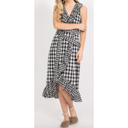Asymmetric Ruffle Plaid Midi Dress
