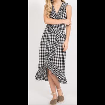 Asymmetric Ruffle Plaid Midi Dress