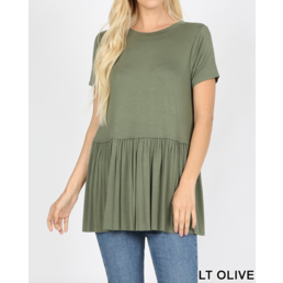 Short Sleeve Ruffle Bottom Top
