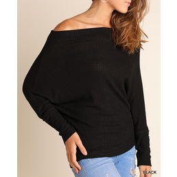 Off Shoulder Top W/ Batwing Sleeves