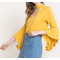 Bamboo Fabric V-Cutout Front Bell Sleeved Top