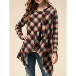 Plaid Draped Cardigan