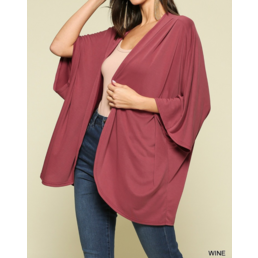 Open Front Kimono with Rounded Hemline