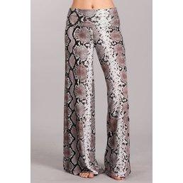 Snakeskin Print Wide Leg Pants