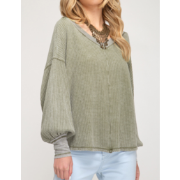 Waffle Knit Top