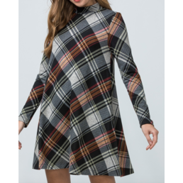 Plaid Mock Neck Dress