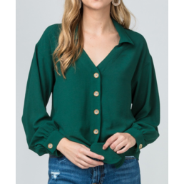 Collared V Neck Top