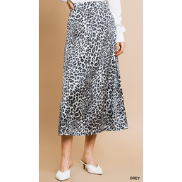 Animal Print High Waist Midi Slip Skirt W/  Zipper Closure