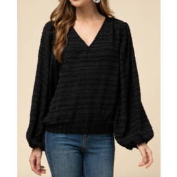 Textured V Neck Top