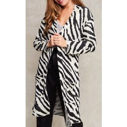 Long Zebra Print Cardigan