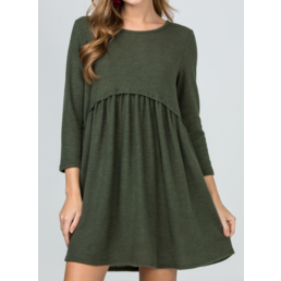 Scoop Neck Gathered Babydoll Dress