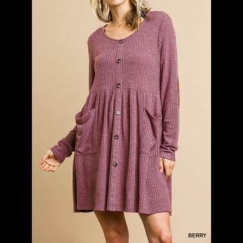 Waffle Knit Babydoll Dress