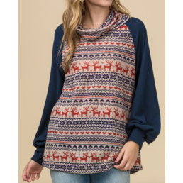 Fair Isle Cowl Neck Sweater