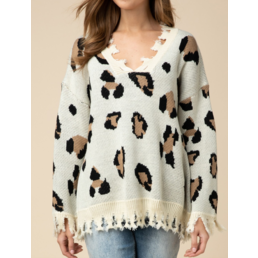 Leopard Frayed Hem Top