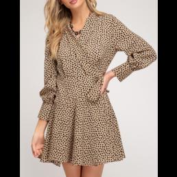 Long Sleeve Dot Print Wrap Dress