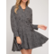 Long Sleeve Dot Print Wrap Dress
