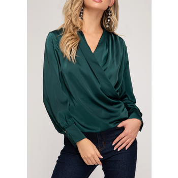 Surplice Satin Blouse