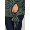Long Sleeve Smocked Mock Neck Spot Print Top W/ Side Tie Detail
