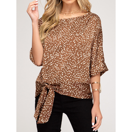 Dot Print Satin Top