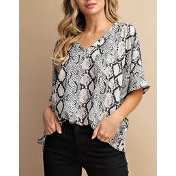 V Neck Snake Print Blouse