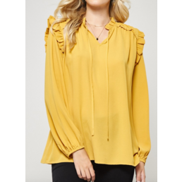 Long Peasant Sleeve Blouse W/ Ruffle Details