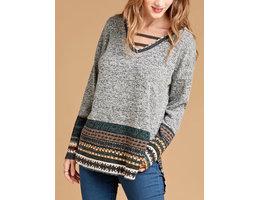 Melange Brushed Hacci Knit Sweater