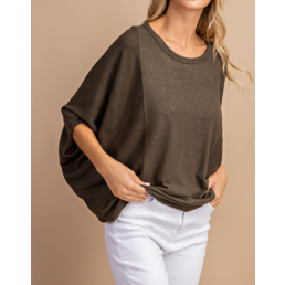 3/4 Dolman Sleeve Loose Fit Drape Top