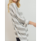 3/4 Sleeve Boxy Brushed Wide Stripe Knit Top