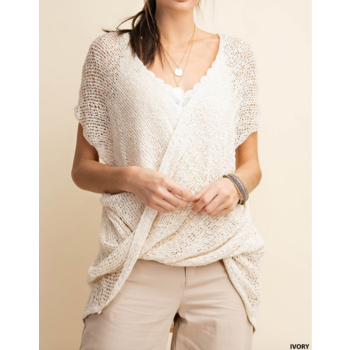 Open Knit Crossover Top