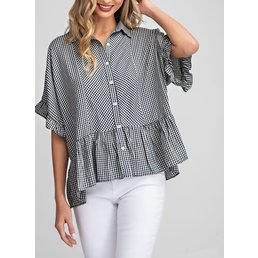 Gingham Ruffle Sleeve Button Up