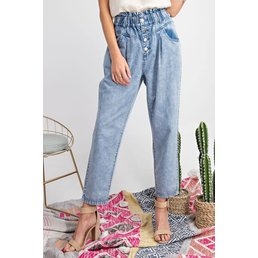 High-Waisted Button Pants